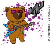 rock and roll teddy bear for... | Shutterstock .eps vector #314001734