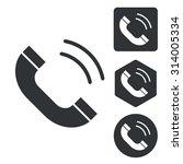 calling icon set  monochrome ...
