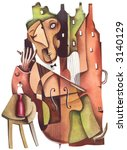 Solo on cello. Illustration by Eugene Ivanov. - stock photo