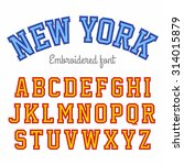 New York  Embroidered Font...