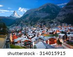 zermatt village with peak of...