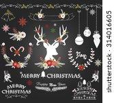 chalkboard christmas flowers... | Shutterstock .eps vector #314016605