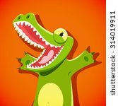 funny cute crocodile with a... | Shutterstock .eps vector #314019911