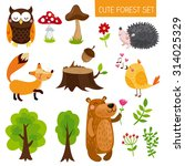 vector set of cute woodland and ... | Shutterstock .eps vector #314025329