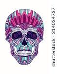 skull zentangle. human skull... | Shutterstock .eps vector #314034737