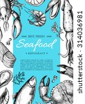 vector vintage seafood... | Shutterstock .eps vector #314036981