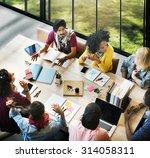 diverse group people working... | Shutterstock . vector #314058311