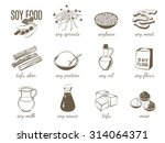 set of monochrome cartoon soy...   Shutterstock .eps vector #314064371
