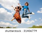 girl and boy jumping | Shutterstock . vector #31406779