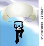 Parachuting business man  A falling business man saved by a parachute. Copyspace on chute to write whatever you like on it (perhaps a company name!). No meshes used. - stock vector