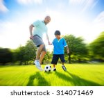 father son playing soccer park... | Shutterstock . vector #314071469