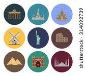 8 flat landmark icons | Shutterstock . vector #314092739