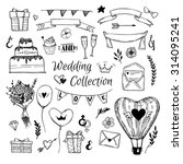 hand drawn vector wedding... | Shutterstock .eps vector #314095241