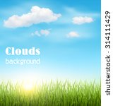 Green Grass Lawn With Clouds...
