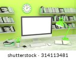 3d illustration pc screen on... | Shutterstock . vector #314113481