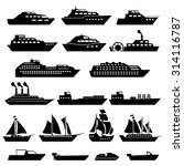 Ship Boat Icons Set