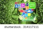 business man using tablet pc... | Shutterstock . vector #314117111
