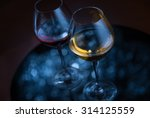 Two Glasses With Wine  Silver...