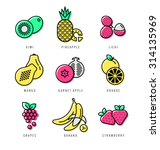 raw food. fresh fruit icon set. | Shutterstock .eps vector #314135969
