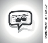 curved chat bubble with sushi...