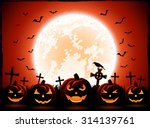 halloween night with moon and... | Shutterstock .eps vector #314139761