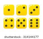 cartoon yellow dice in modern... | Shutterstock .eps vector #314144177