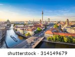 Stock photo aerial view of berlin skyline and spree river in beautiful evening light at sunset in summer 314149679