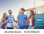 young hipster friends on road... | Shutterstock . vector #314150624