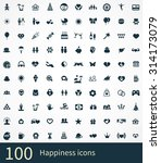 happiness 100 icons universal... | Shutterstock . vector #314173079