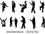 business people unusual silhouettes A series of business people mostly in more unusual poses, climbing, balancing etc. Great for use in conceptual pieces. - stock vector