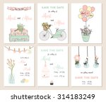collection of 6 cute card... | Shutterstock .eps vector #314183249