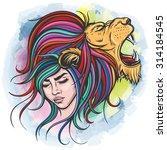 vector color lion woman... | Shutterstock .eps vector #314184545