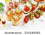 close up view set of canapes... | Shutterstock . vector #314184581