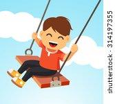 swinging kid. happy smiling boy ... | Shutterstock .eps vector #314197355