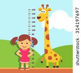 girl is measuring her height... | Shutterstock .eps vector #314197697