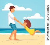 father playing with his child... | Shutterstock .eps vector #314198801