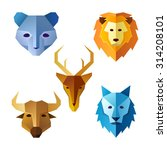 various animal head in simple... | Shutterstock .eps vector #314208101