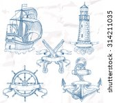 items on the marine theme. hand ... | Shutterstock .eps vector #314211035