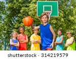 boy plays basketball with... | Shutterstock . vector #314219579