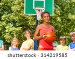 smiling african girl with ball... | Shutterstock . vector #314219585