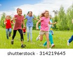 group of happy kids running... | Shutterstock . vector #314219645