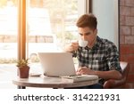 businessman using laptop with... | Shutterstock . vector #314221931