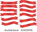 set of 12 red banners | Shutterstock .eps vector #31425496