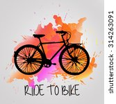 watercolor bike with color... | Shutterstock .eps vector #314263091