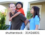 attractive asian family outside ... | Shutterstock . vector #31426831