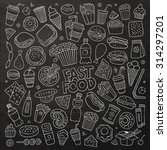 chalkboard vector hand drawn... | Shutterstock .eps vector #314297201