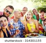 diverse people luncheon food...   Shutterstock . vector #314301155