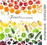 collection of fruits and... | Shutterstock . vector #314312384