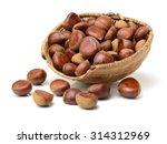 sweet chestnut on white... | Shutterstock . vector #314312969