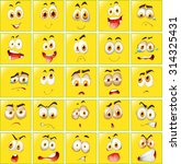 facial expressions on yellow... | Shutterstock .eps vector #314325431